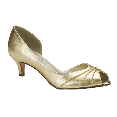 Abby Gold Metallic Low Heel Evening Shoes