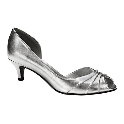 Abby Silver Metallic Low Heel Evening Shoes