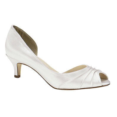 Abby White Low Heel Evening Shoes