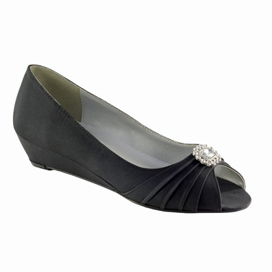 Anette Black Low Heel Evening Shoes