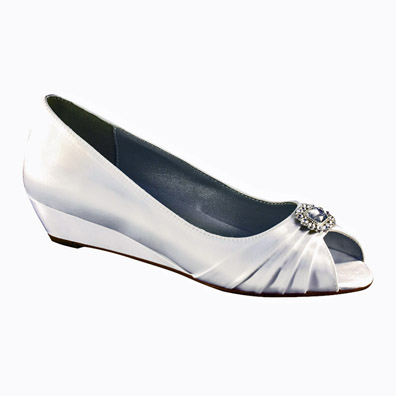 Anette Dyeable White Satin Low Wedge Heel Wedding Shoes
