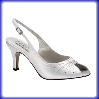 Angie White Satin Mid Heel Bridal Shoes