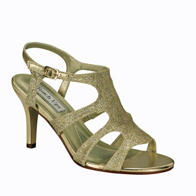 Aphrodite Gold Glitter Mid Heel Evening Shoes
