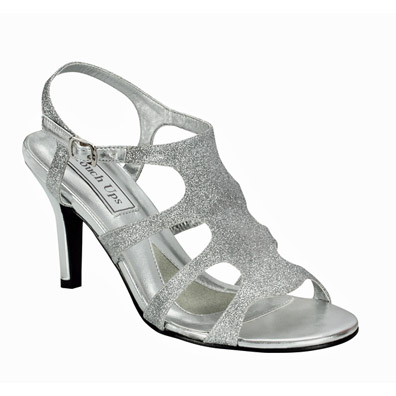 Silver Glitter Mid Heel Evening Shoes