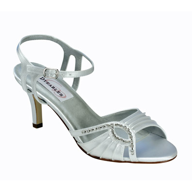 Ariana White Satin Mid Heel Brial Shoes