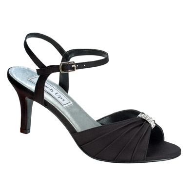 Aspen Black Satin Mid Heel Evening Shoes