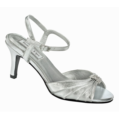 Aspen Silver Metallic Mid Heel Evening Shoes