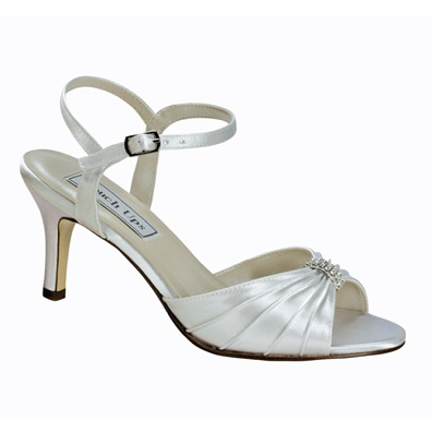 Aspen White Satin Mid Heel Wedding Shoes