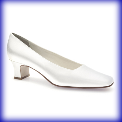 Betty Low Heeled White Satin Bridal Shoes