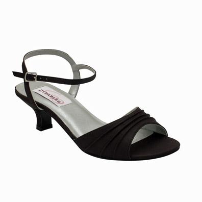 c829a6d423c Brielle Low Heel Black Satin Evening Shoes