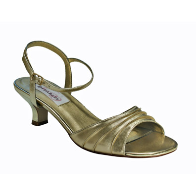 Brielle Gold Low Heel Evening Shoes