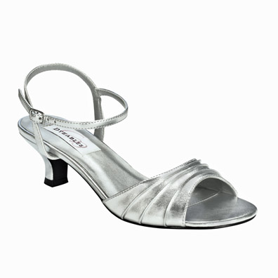 Brielle Silver Metallic Low Heel Evening Shoes