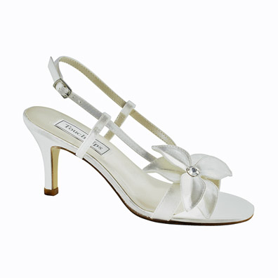 Cheyenne White Satin Mid Heel Wedding Shoes