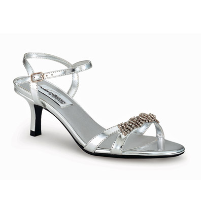 Chic Silver Mid Heel Evening Shoes
