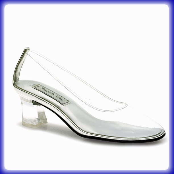 look at cinderella clear mid heel evening shoes