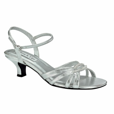 Dakota Low Heel Silver Metallic Evening Shoes