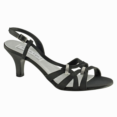 Donetta Black Mid Heel Evening Shoes