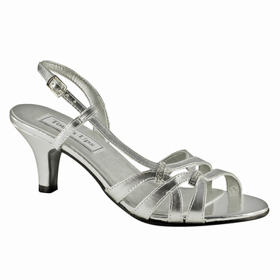 Donetta Silver Mid Heel Evening Shoes
