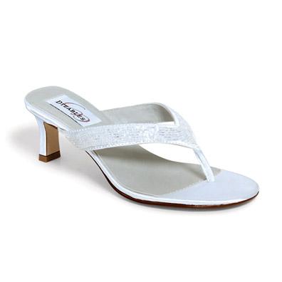 Eden Dyeable White Satin Mid Heel Bridal Flip Flops