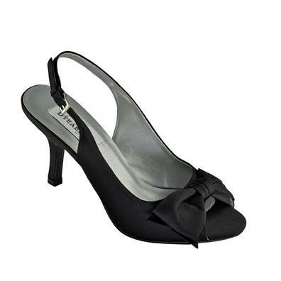 Faye Black Satin Mid Heel Evening Shoes