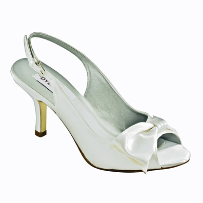 Faye White Satin Mid Heel Bridal Shoes