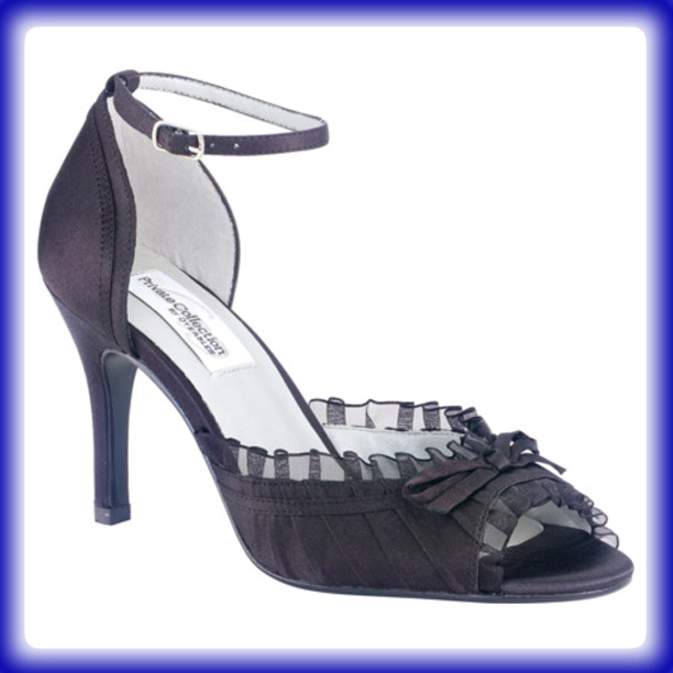 Frilly Black High Heel Evening Shoes