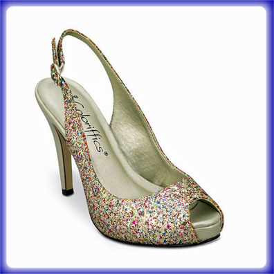 Gala Gold Multi Glitter High Heel Evening Shoes