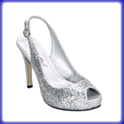 gala silver glitter high heel evening shoes