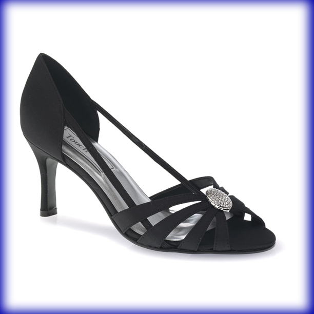 Gemini Black Mid Heel Evening Shoes