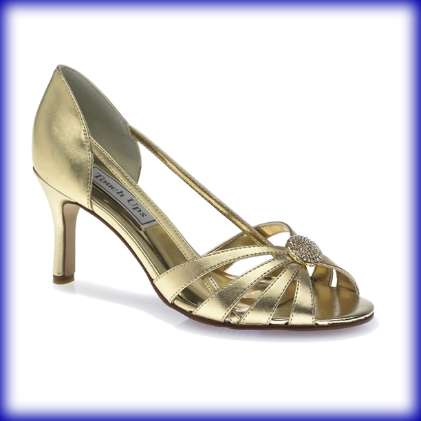 Gold Mid Heel Sandals ~ Low Heel Sandals