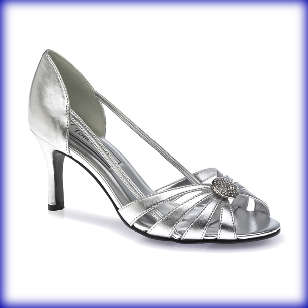Gemini Silver Mid Heel Evening Shoes