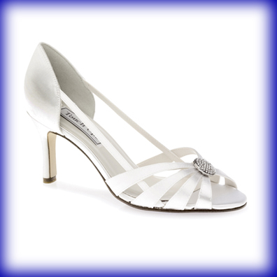 Gemini White Satin Mid Heel Bridal Shoes
