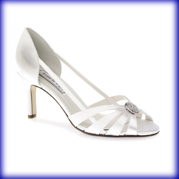 Gemini Dyeable White Satin Mid Heel Bridal Shoes