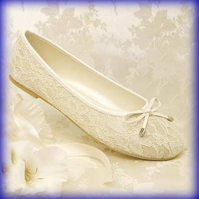 Glamour Ballet Ivory Flat Heel Evening Shoes