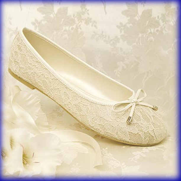 Closeup of Glamour Ballet Ivory Flat Heel Evening Shoes