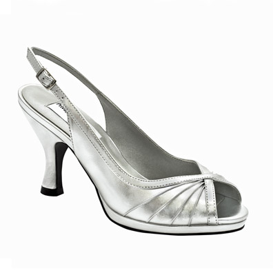 Hannah Silver Metallic Mid Heel Evening Shoes