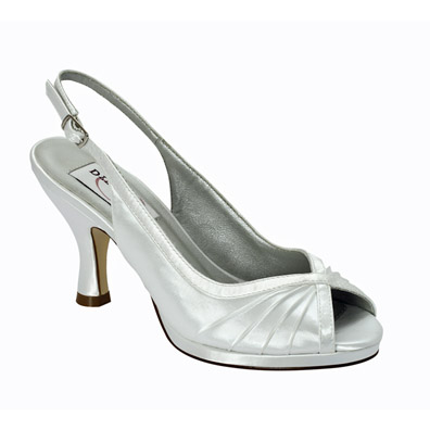 Hannah White Dyeable Mid Heel Wedding Shoes