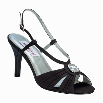 Janelle Black Satin High Heel Evening Shoes