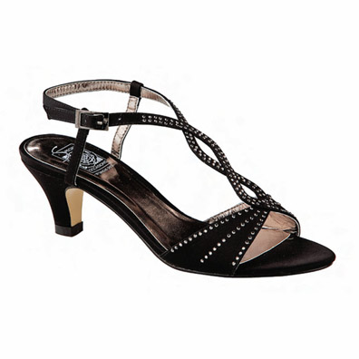 Jess Black Satin Mid Heel Evening Shoes