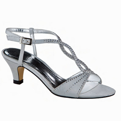 Jess Silver Satin Mid Heel Evening Shoes