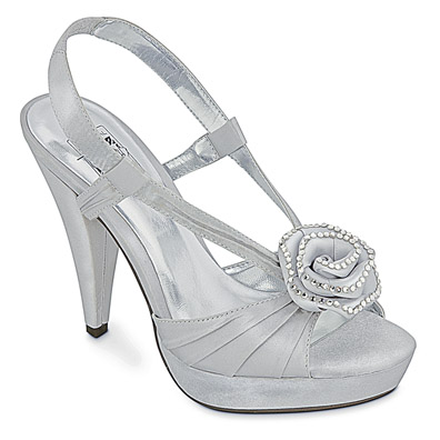 Jolie Silver Satin Sky High Heel Evening Shoes