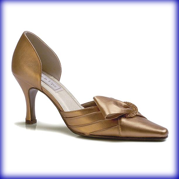 closeup of bronze metallic high heel evening shoes