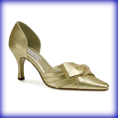 Katrina Gold Mid Heel Evening Shoes