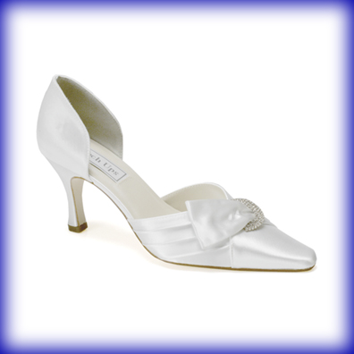 Katrina White Satin Mid Heel Bridal Shoes