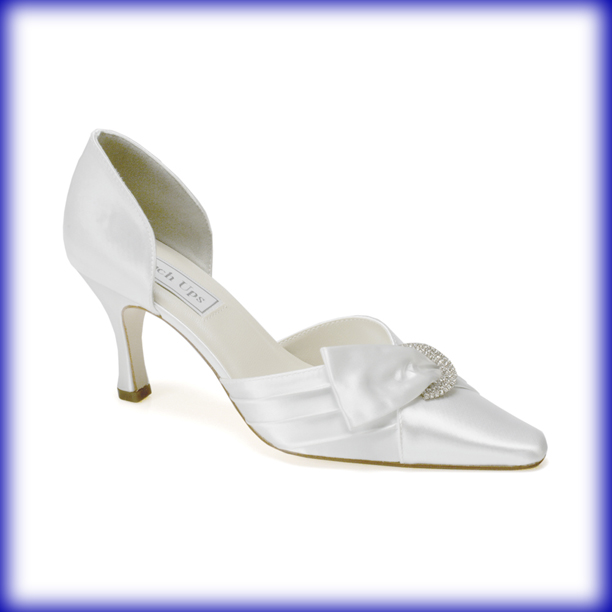 Katrina White Mid Heel Bridal Shoes