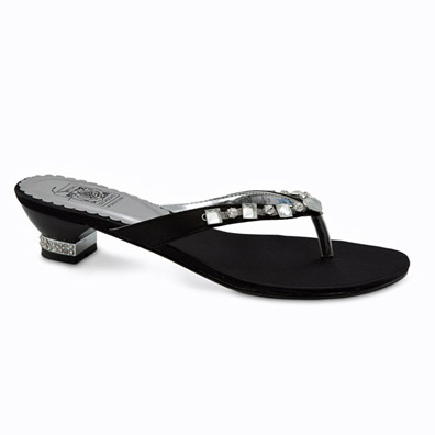 Kenda Black Low Heel Evening Shoes