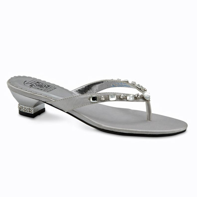 Kenda Silver Low Heel Evening Shoes