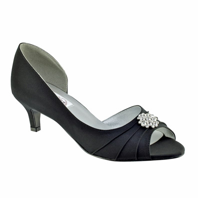 Kim Black Satin Low Heel Evening and Prom Shoes