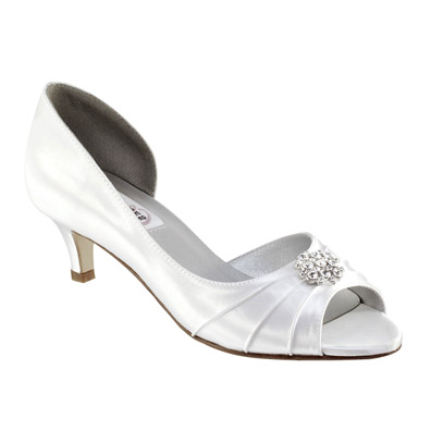 Kim Dyeable White Satin Low Heel Wedding Shoes