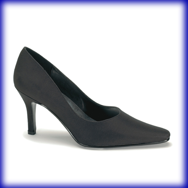 Laura Black Mid Heel Evening Shoes